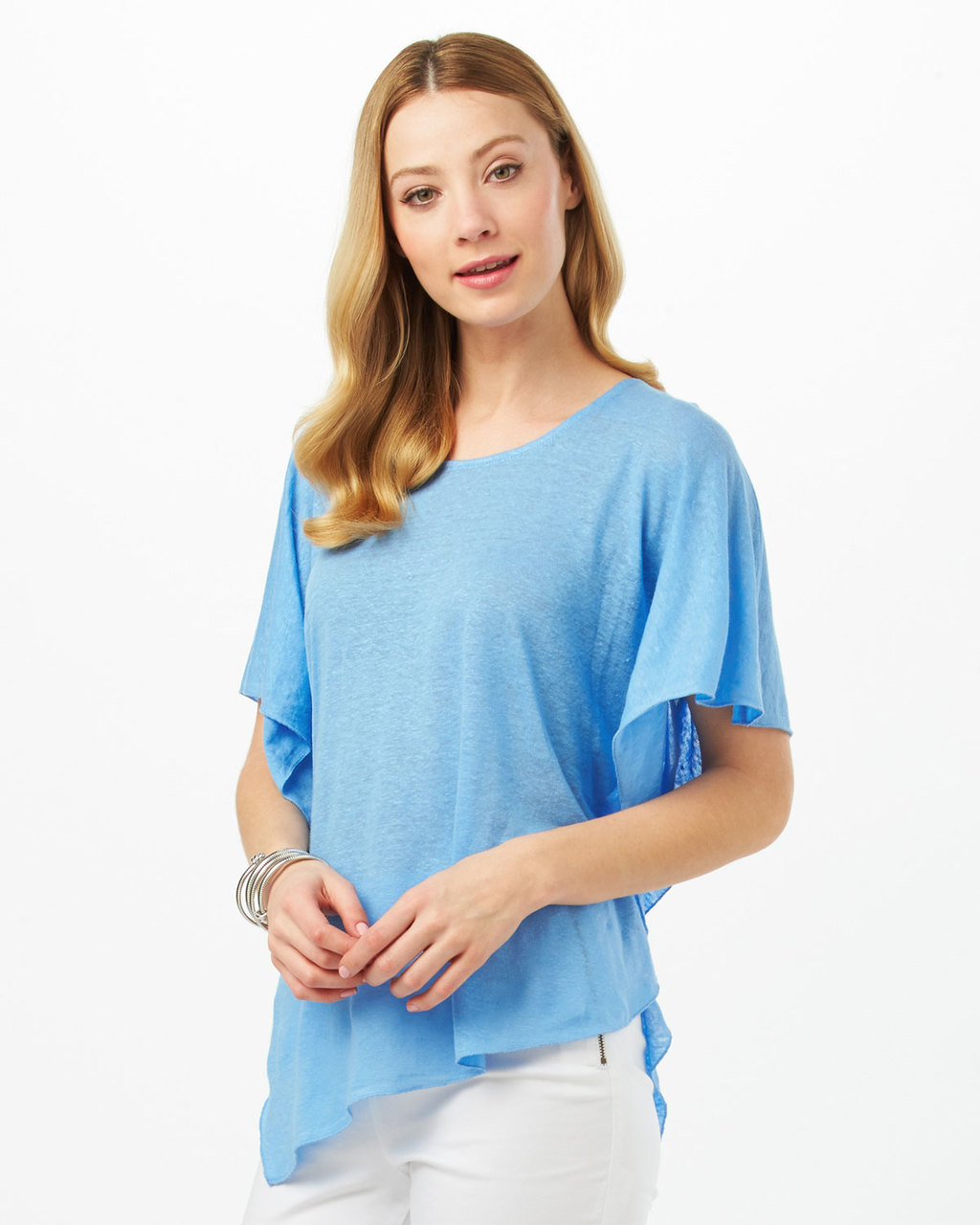 Thekla Asymmetric Linen Top - neckline: round neck; sleeve style: angel/waterfall; pattern: plain; predominant colour: diva blue; occasions: casual, creative work; length: standard; style: top; fibres: linen - 100%; fit: loose; sleeve length: short sleeve; pattern type: fabric; texture group: jersey - stretchy/drapey; season: s/s 2016; wardrobe: highlight