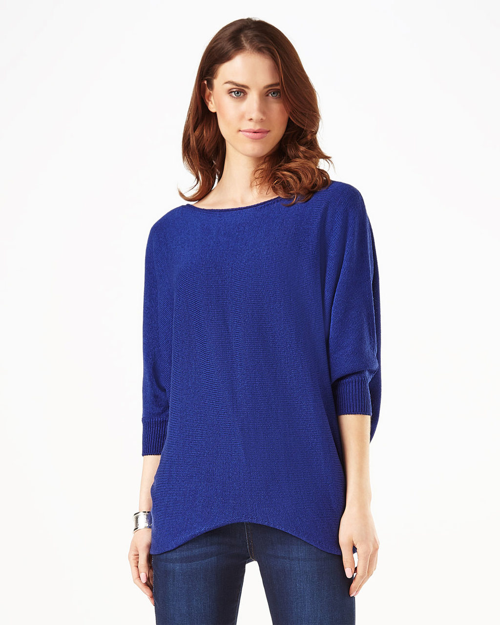 Tape Yarn Becca Batwing Jumper - neckline: round neck; sleeve style: dolman/batwing; pattern: plain; length: below the bottom; style: standard; predominant colour: royal blue; occasions: casual; fibres: acrylic - mix; fit: loose; sleeve length: 3/4 length; texture group: knits/crochet; pattern type: knitted - fine stitch; season: s/s 2016