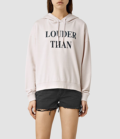 Louder Lo Hoody - neckline: high neck; back detail: hood; style: standard, hoody; predominant colour: ivory/cream; secondary colour: black; occasions: casual; length: standard; fibres: cotton - 100%; fit: loose; sleeve length: long sleeve; sleeve style: standard; pattern type: fabric; texture group: jersey - stretchy/drapey; pattern: graphic/slogan; multicoloured: multicoloured; season: s/s 2016