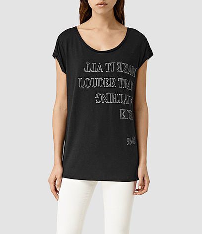 Louder Boyfriend Tee - style: t-shirt; secondary colour: light grey; predominant colour: black; occasions: casual; length: standard; neckline: scoop; fibres: linen - 100%; fit: body skimming; sleeve length: short sleeve; sleeve style: standard; pattern type: fabric; pattern size: standard; texture group: jersey - stretchy/drapey; pattern: graphic/slogan; season: s/s 2016; wardrobe: highlight