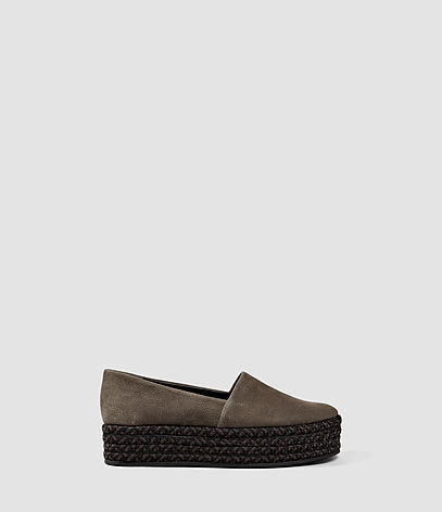 Bora Slip On Shoe - predominant colour: khaki; secondary colour: black; occasions: casual; material: suede; heel height: flat; toe: round toe; style: flatforms; finish: plain; pattern: plain; shoe detail: moulded soul; season: s/s 2016; wardrobe: highlight
