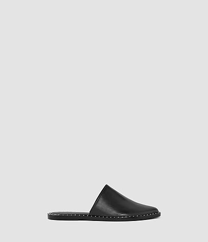 Rick Slip On Sandal - predominant colour: black; material: leather; heel height: flat; toe: round toe; style: mules; finish: plain; pattern: plain; occasions: creative work; season: s/s 2016; wardrobe: highlight