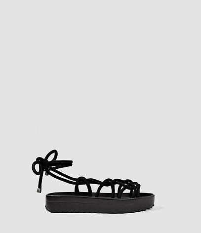 Kofu Sandal - predominant colour: black; occasions: casual; material: leather; heel height: flat; ankle detail: ankle strap; heel: block; toe: open toe/peeptoe; style: strappy; finish: plain; pattern: plain; shoe detail: platform; season: s/s 2016; wardrobe: basic