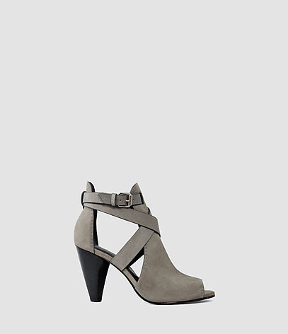 Benny Heel Sandal - predominant colour: light grey; occasions: casual; material: leather; heel height: mid; heel: cone; toe: open toe/peeptoe; boot length: ankle boot; style: standard; finish: plain; pattern: plain; season: s/s 2016; wardrobe: basic
