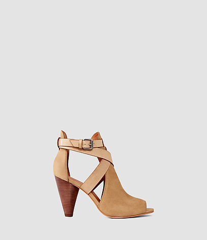 Benny Heel Sandal - predominant colour: camel; occasions: casual; material: leather; heel height: mid; heel: cone; toe: open toe/peeptoe; boot length: ankle boot; style: standard; finish: plain; pattern: plain; season: s/s 2016; wardrobe: basic