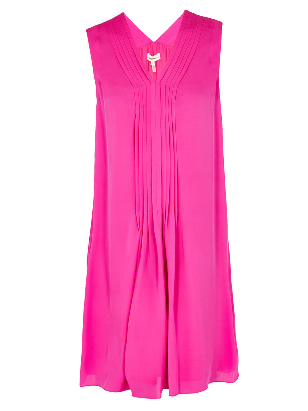 Sleeveless Georgette Dress - style: shift; neckline: v-neck; pattern: plain; sleeve style: sleeveless; predominant colour: hot pink; occasions: evening; length: on the knee; fit: body skimming; fibres: silk - 100%; sleeve length: sleeveless; texture group: silky - light; pattern type: fabric; season: s/s 2016; wardrobe: event