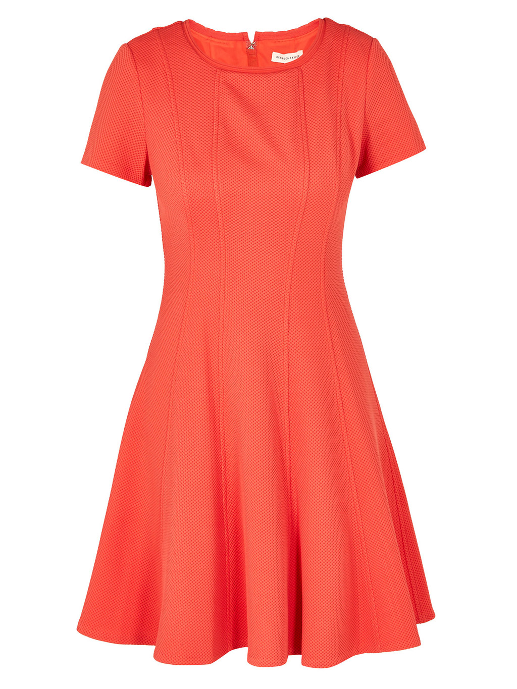 Short Sleeve Knit Pique Dress - pattern: plain; predominant colour: coral; occasions: evening; length: just above the knee; fit: fitted at waist & bust; style: fit & flare; fibres: polyester/polyamide - stretch; neckline: crew; sleeve length: short sleeve; sleeve style: standard; pattern type: fabric; texture group: jersey - stretchy/drapey; season: s/s 2016; wardrobe: event