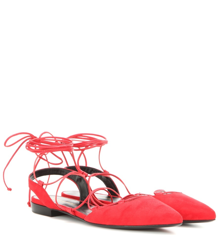 Paris Suede Lace Up Sandals - predominant colour: true red; occasions: casual, creative work; material: suede; heel height: flat; ankle detail: ankle strap; toe: pointed toe; style: ballerinas / pumps; finish: plain; pattern: plain; season: s/s 2016; wardrobe: highlight