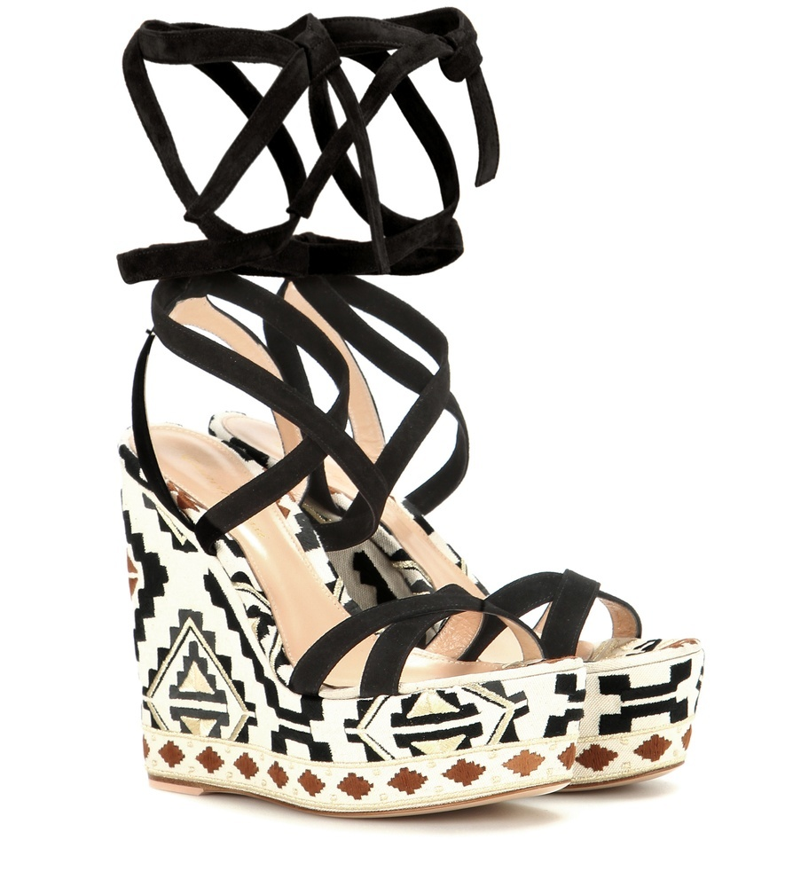 Cheyenne Wedge Suede Sandals - predominant colour: white; secondary colour: black; occasions: casual, holiday; material: leather; heel height: high; ankle detail: ankle strap; heel: wedge; toe: open toe/peeptoe; style: standard; finish: plain; pattern: patterned/print; shoe detail: platform; multicoloured: multicoloured; season: s/s 2016; wardrobe: highlight