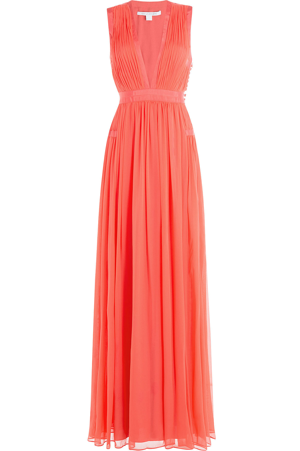 Gathered Silk Gown - neckline: low v-neck; pattern: plain; sleeve style: sleeveless; style: maxi dress; predominant colour: coral; occasions: evening; length: floor length; fit: body skimming; fibres: silk - 100%; sleeve length: sleeveless; texture group: silky - light; pattern type: fabric; season: s/s 2016; wardrobe: event