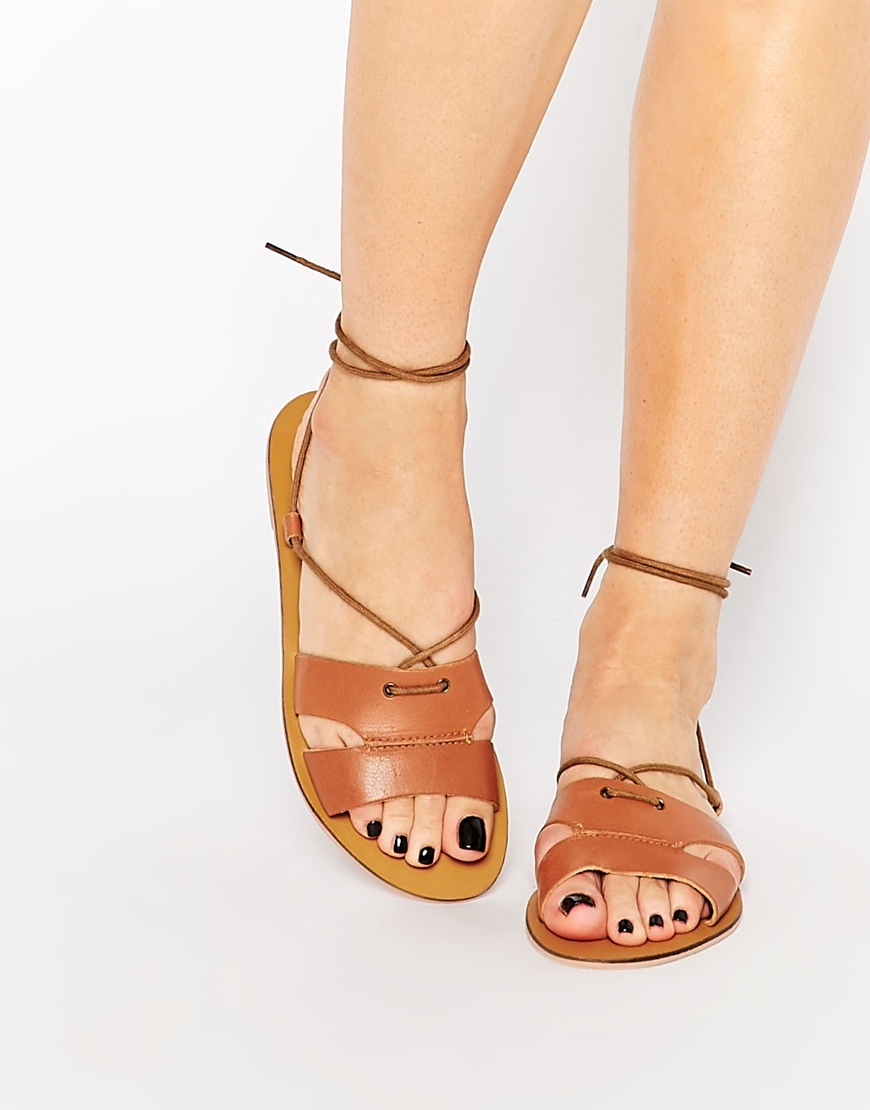 Lace Up Flat Sandal Tan - predominant colour: tan; occasions: casual, holiday; material: leather; heel height: flat; ankle detail: ankle tie; heel: block; toe: open toe/peeptoe; style: strappy; finish: plain; pattern: plain; season: s/s 2016; wardrobe: highlight