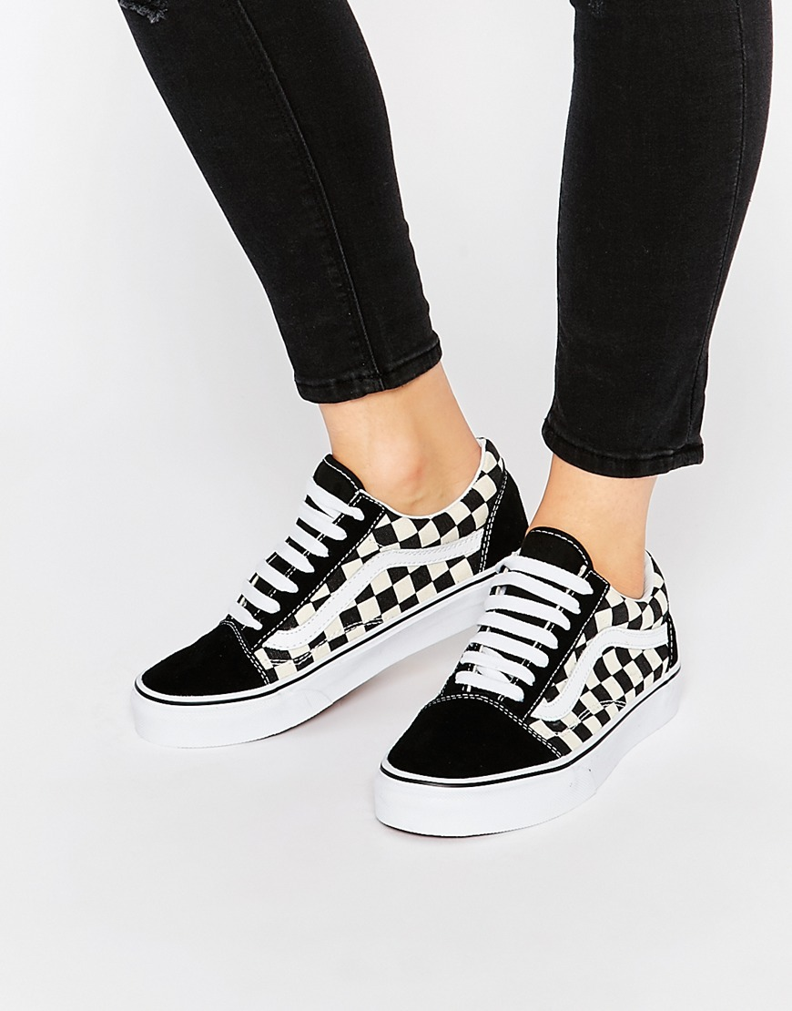 Checkboard Old Skool Trainers Checkerboard - secondary colour: white; predominant colour: black; occasions: casual; material: fabric; heel height: flat; toe: round toe; style: trainers; finish: plain; pattern: plain; season: s/s 2016; wardrobe: basic
