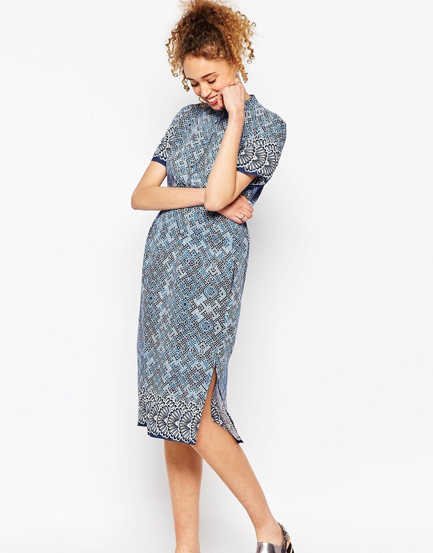 X Chichia Midi Shirt Dress In Fan Print Multi - style: shift; length: below the knee; fit: tailored/fitted; neckline: high neck; secondary colour: white; predominant colour: diva blue; fibres: polyester/polyamide - 100%; sleeve length: short sleeve; sleeve style: standard; pattern type: fabric; pattern size: standard; pattern: patterned/print; texture group: woven light midweight; occasions: creative work; multicoloured: multicoloured; season: s/s 2016