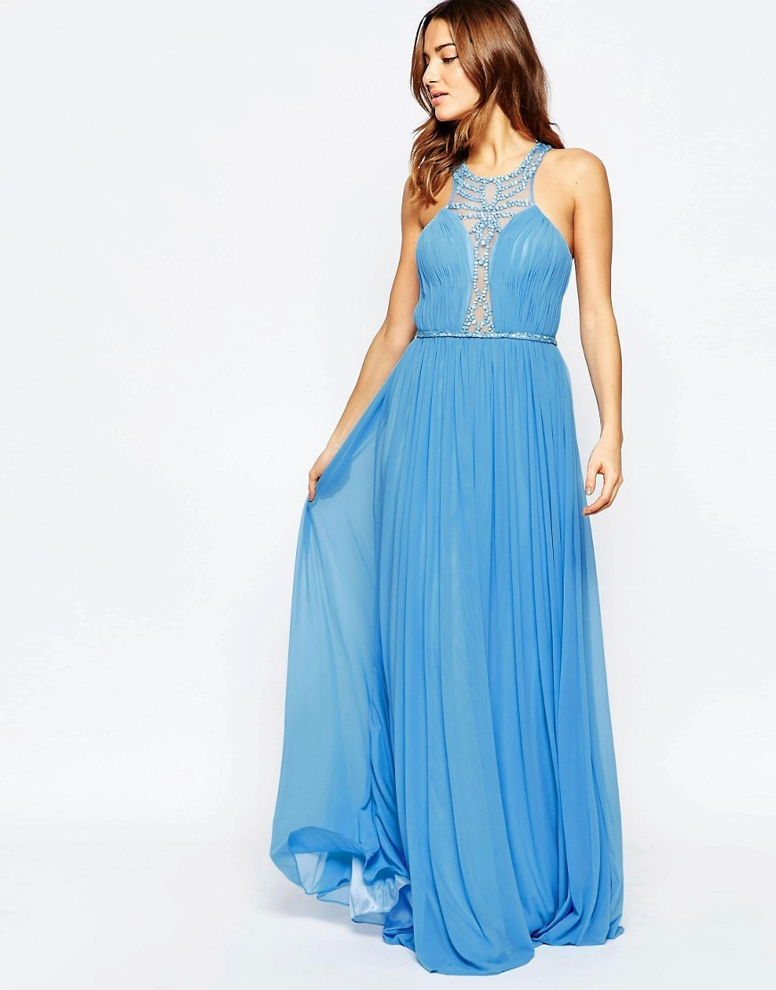 Saffron Maxi Dress With Embellished Plunge Neck Blue - style: ballgown; neckline: round neck; fit: fitted at waist; pattern: plain; sleeve style: sleeveless; bust detail: added detail/embellishment at bust; predominant colour: diva blue; length: floor length; fibres: polyester/polyamide - 100%; occasions: occasion; hip detail: soft pleats at hip/draping at hip/flared at hip; sleeve length: sleeveless; texture group: sheer fabrics/chiffon/organza etc.; pattern type: fabric; embellishment: sequins; season: s/s 2016; wardrobe: event