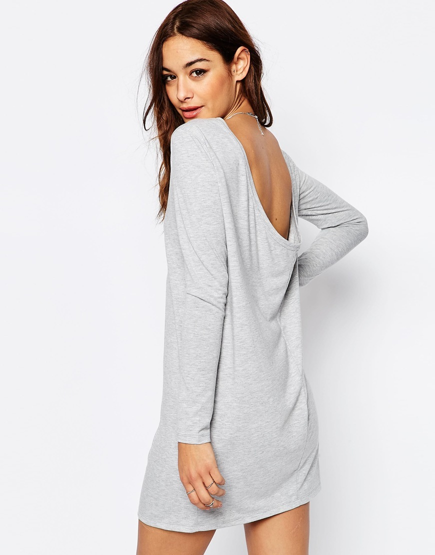 Mini Dress With Cowl Back Grey Marl - style: t-shirt; length: mini; neckline: round neck; fit: loose; back detail: back revealing; predominant colour: light grey; occasions: casual; fibres: cotton - stretch; sleeve length: long sleeve; sleeve style: standard; pattern type: fabric; pattern size: light/subtle; texture group: jersey - stretchy/drapey; pattern: marl; season: s/s 2016; wardrobe: basic