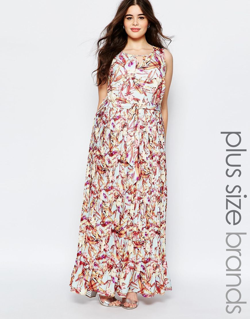 Plus Pleated Maxi Dress In Floral Print Print - neckline: round neck; sleeve style: sleeveless; style: maxi dress; length: ankle length; predominant colour: ivory/cream; secondary colour: burgundy; fit: body skimming; fibres: polyester/polyamide - 100%; occasions: occasion; sleeve length: sleeveless; pattern type: fabric; pattern size: standard; pattern: patterned/print; texture group: other - light to midweight; multicoloured: multicoloured; season: s/s 2016; wardrobe: event