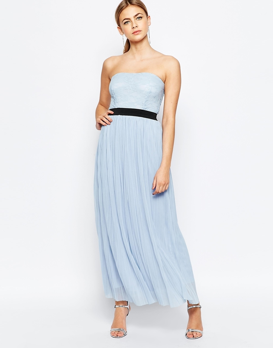Maxi Dress With Pleated Skirt And Lace Top Powder Blue - neckline: strapless (straight/sweetheart); pattern: plain; style: maxi dress; sleeve style: strapless; length: ankle length; waist detail: belted waist/tie at waist/drawstring; predominant colour: pale blue; secondary colour: black; occasions: evening, occasion; fit: body skimming; fibres: polyester/polyamide - 100%; sleeve length: sleeveless; pattern type: fabric; texture group: jersey - stretchy/drapey; multicoloured: multicoloured; season: s/s 2016; wardrobe: event
