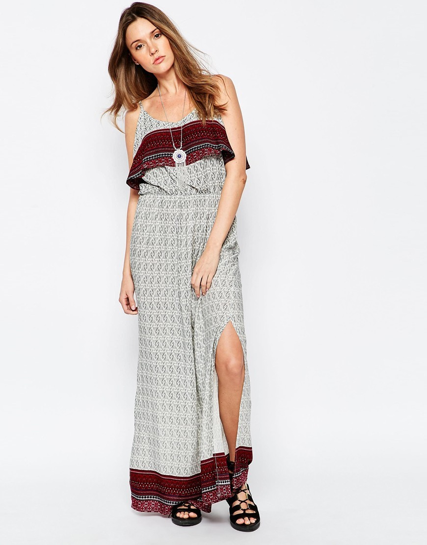 Printed Overlay Maxi Dress Navy/Red - neckline: round neck; sleeve style: spaghetti straps; style: maxi dress; predominant colour: ivory/cream; secondary colour: burgundy; occasions: casual; length: floor length; fit: body skimming; fibres: cotton - 100%; sleeve length: sleeveless; pattern type: fabric; pattern size: standard; pattern: patterned/print; texture group: jersey - stretchy/drapey; season: s/s 2016; wardrobe: highlight