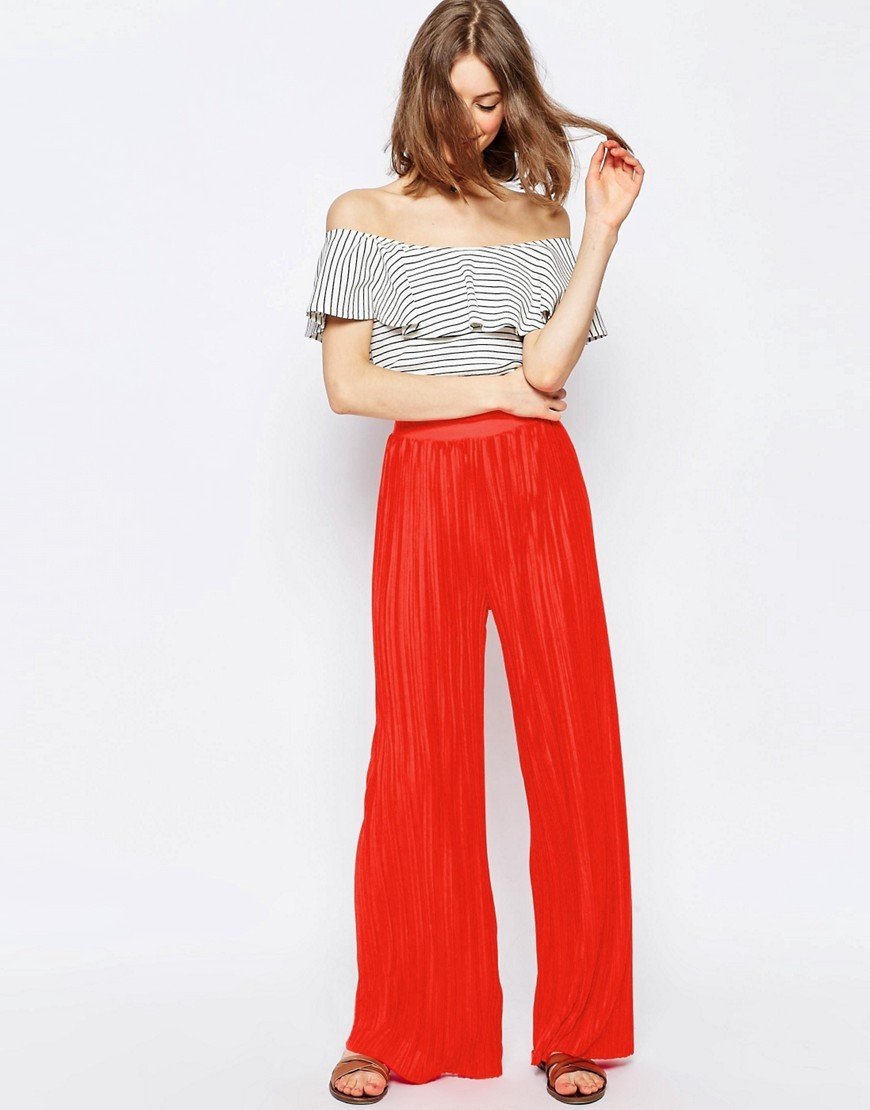 Jersey Pleated Wide Leg Trousers Red - length: standard; pattern: plain; style: palazzo; waist: high rise; predominant colour: true red; occasions: casual, holiday; fibres: polyester/polyamide - 100%; fit: wide leg; pattern type: fabric; texture group: other - light to midweight; season: s/s 2016; wardrobe: highlight