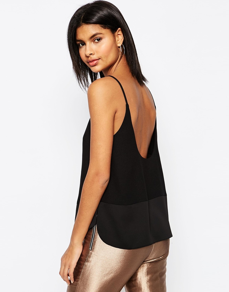 Scoop Back Cami Top In Matte & Shine Black - sleeve style: spaghetti straps; pattern: plain; length: below the bottom; style: camisole; back detail: back revealing; predominant colour: black; occasions: evening; neckline: scoop; fibres: polyester/polyamide - 100%; fit: loose; sleeve length: sleeveless; pattern type: fabric; texture group: other - light to midweight; season: s/s 2016; wardrobe: event