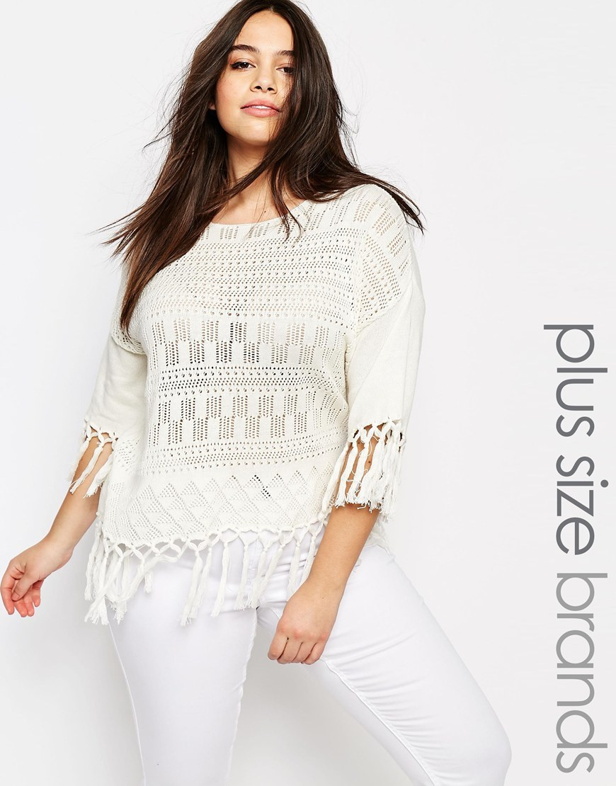 Fringed Poncho White - neckline: round neck; pattern: plain; style: poncho; predominant colour: white; occasions: casual; length: standard; fibres: cotton - 100%; fit: standard fit; sleeve length: 3/4 length; sleeve style: standard; texture group: knits/crochet; pattern type: knitted - other; season: s/s 2016; wardrobe: highlight