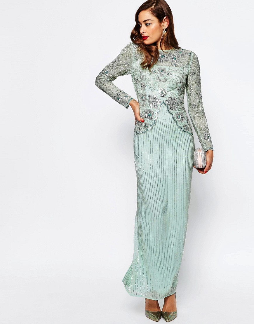 Red Carpet Linear Long Sleeve Embellished Maxi Dress Mint - pattern: plain; style: maxi dress; length: ankle length; bust detail: added detail/embellishment at bust; predominant colour: pistachio; occasions: evening, occasion; fit: body skimming; fibres: polyester/polyamide - 100%; neckline: crew; sleeve length: long sleeve; sleeve style: standard; pattern type: fabric; texture group: other - light to midweight; embellishment: beading; season: s/s 2016; wardrobe: event