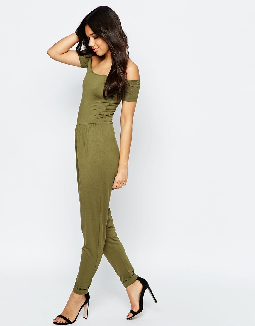 Bardot Jersey Jumpsuit With Peg Leg Khaki - length: standard; neckline: off the shoulder; pattern: plain; predominant colour: khaki; occasions: casual; fit: body skimming; fibres: polyester/polyamide - stretch; sleeve length: short sleeve; sleeve style: standard; style: jumpsuit; pattern type: fabric; pattern size: standard; texture group: jersey - stretchy/drapey; season: s/s 2016; wardrobe: highlight