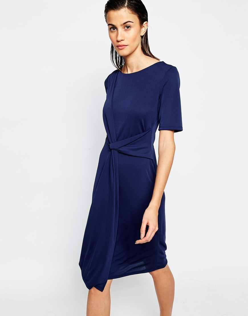 Drape Crepe Dress Navy - style: shift; length: below the knee; pattern: plain; waist detail: flattering waist detail; predominant colour: navy; occasions: evening; fit: body skimming; fibres: polyester/polyamide - 100%; neckline: crew; sleeve length: short sleeve; sleeve style: standard; texture group: crepes; pattern type: fabric; season: s/s 2016; wardrobe: event