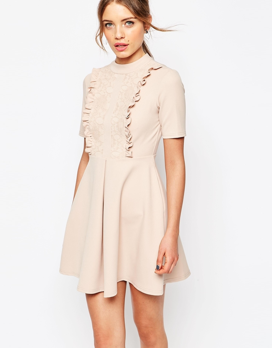 Lace Panel Frill Neck Mini Dress Nude - length: mid thigh; pattern: plain; neckline: high neck; predominant colour: blush; occasions: evening; fit: fitted at waist & bust; style: fit & flare; fibres: polyester/polyamide - stretch; sleeve length: short sleeve; sleeve style: standard; bust detail: bulky details at bust; pattern type: fabric; texture group: jersey - stretchy/drapey; season: s/s 2016; wardrobe: event