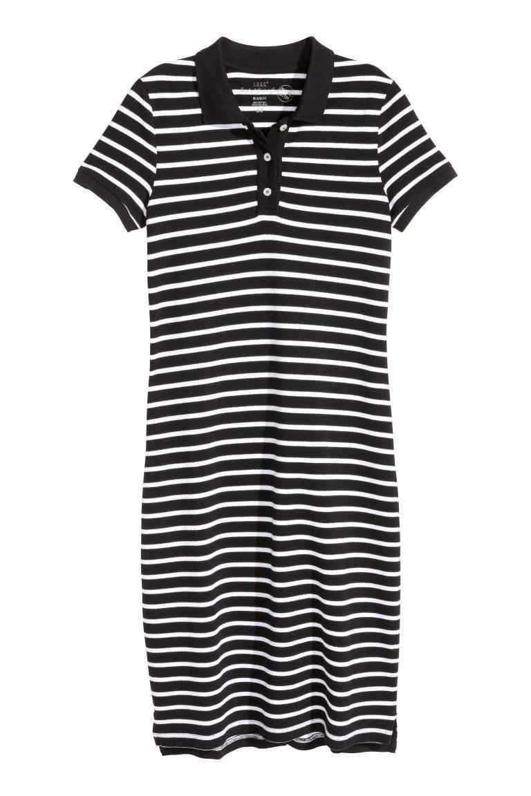 Piqué Dress - style: t-shirt; neckline: shirt collar/peter pan/zip with opening; pattern: horizontal stripes; bust detail: buttons at bust (in middle at breastbone)/zip detail at bust; secondary colour: white; predominant colour: black; occasions: casual; length: just above the knee; fit: body skimming; fibres: cotton - stretch; sleeve length: short sleeve; sleeve style: standard; trends: monochrome; pattern type: fabric; pattern size: standard; texture group: jersey - stretchy/drapey; season: s/s 2016; wardrobe: basic