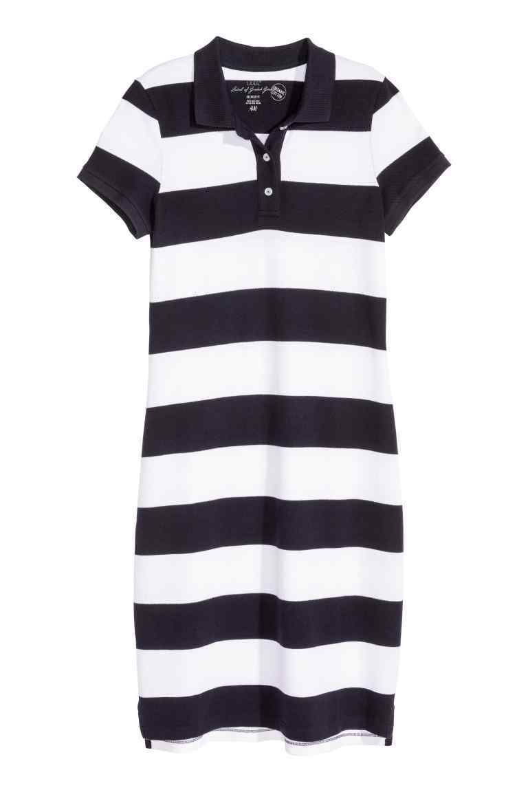Piqué Dress - style: t-shirt; length: mid thigh; neckline: shirt collar/peter pan/zip with opening; fit: loose; pattern: horizontal stripes; bust detail: buttons at bust (in middle at breastbone)/zip detail at bust; secondary colour: white; predominant colour: navy; occasions: casual; fibres: cotton - stretch; sleeve length: short sleeve; sleeve style: standard; pattern type: fabric; pattern size: standard; texture group: jersey - stretchy/drapey; season: s/s 2016; wardrobe: basic