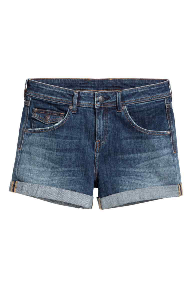 Denim Shorts Low Waist - pattern: plain; waist: low rise; pocket detail: traditional 5 pocket; predominant colour: denim; occasions: casual; fibres: cotton - stretch; texture group: denim; pattern type: fabric; season: s/s 2016; style: denim; length: short shorts; fit: slim leg; wardrobe: highlight