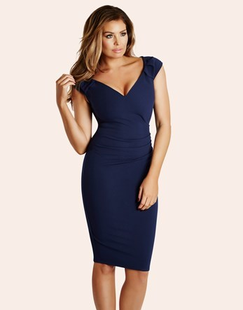 Ruched Bodycon Dress - style: shift; neckline: low v-neck; sleeve style: capped; pattern: plain; predominant colour: navy; occasions: evening, occasion; length: on the knee; fit: body skimming; fibres: polyester/polyamide - stretch; sleeve length: sleeveless; pattern type: fabric; texture group: other - light to midweight; season: s/s 2016; wardrobe: event
