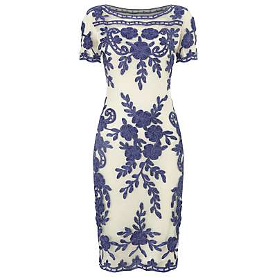 Sienna Tapework Dress, Blue/White - style: shift; neckline: slash/boat neckline; fit: tailored/fitted; secondary colour: ivory/cream; predominant colour: denim; length: on the knee; fibres: nylon - 100%; occasions: occasion; sleeve length: short sleeve; sleeve style: standard; pattern type: fabric; pattern size: big & busy; pattern: florals; texture group: other - light to midweight; season: s/s 2016; wardrobe: event