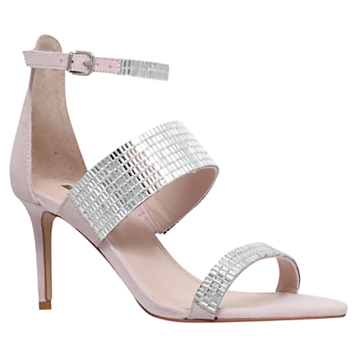 Gas High Heel Sandals, Nude Suedette - predominant colour: silver; occasions: evening, occasion; heel height: high; ankle detail: ankle strap; heel: stiletto; toe: open toe/peeptoe; style: standard; finish: metallic; pattern: plain; material: faux suede; season: s/s 2016; wardrobe: event