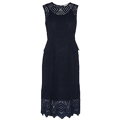 Clementine Peplum Lace Dress, Navy - style: shift; length: below the knee; fit: tailored/fitted; sleeve style: sleeveless; waist detail: peplum waist detail; predominant colour: navy; fibres: nylon - mix; occasions: occasion; neckline: crew; sleeve length: sleeveless; texture group: lace; pattern type: fabric; pattern size: standard; pattern: patterned/print; embellishment: lace; season: s/s 2016; wardrobe: event