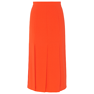 Split Detail Midi Skirt, Orange - length: calf length; pattern: plain; style: pleated; waist: high rise; predominant colour: bright orange; fibres: polyester/polyamide - stretch; hip detail: slits at hip; waist detail: narrow waistband; texture group: crepes; fit: straight cut; pattern type: fabric; occasions: creative work; season: s/s 2016; wardrobe: highlight