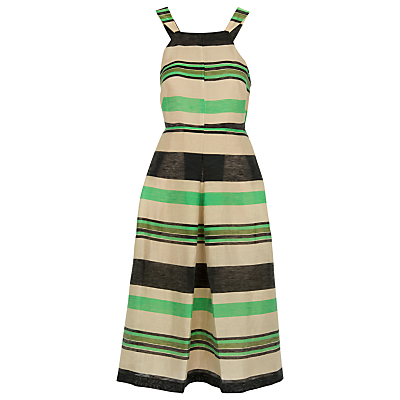 Miriam Stripe Dress, Multi - length: below the knee; pattern: horizontal stripes; sleeve style: sleeveless; predominant colour: emerald green; secondary colour: stone; fit: fitted at waist & bust; style: fit & flare; fibres: linen - mix; occasions: occasion; sleeve length: sleeveless; neckline: medium square neck; pattern type: fabric; pattern size: standard; texture group: other - light to midweight; season: s/s 2016; wardrobe: event