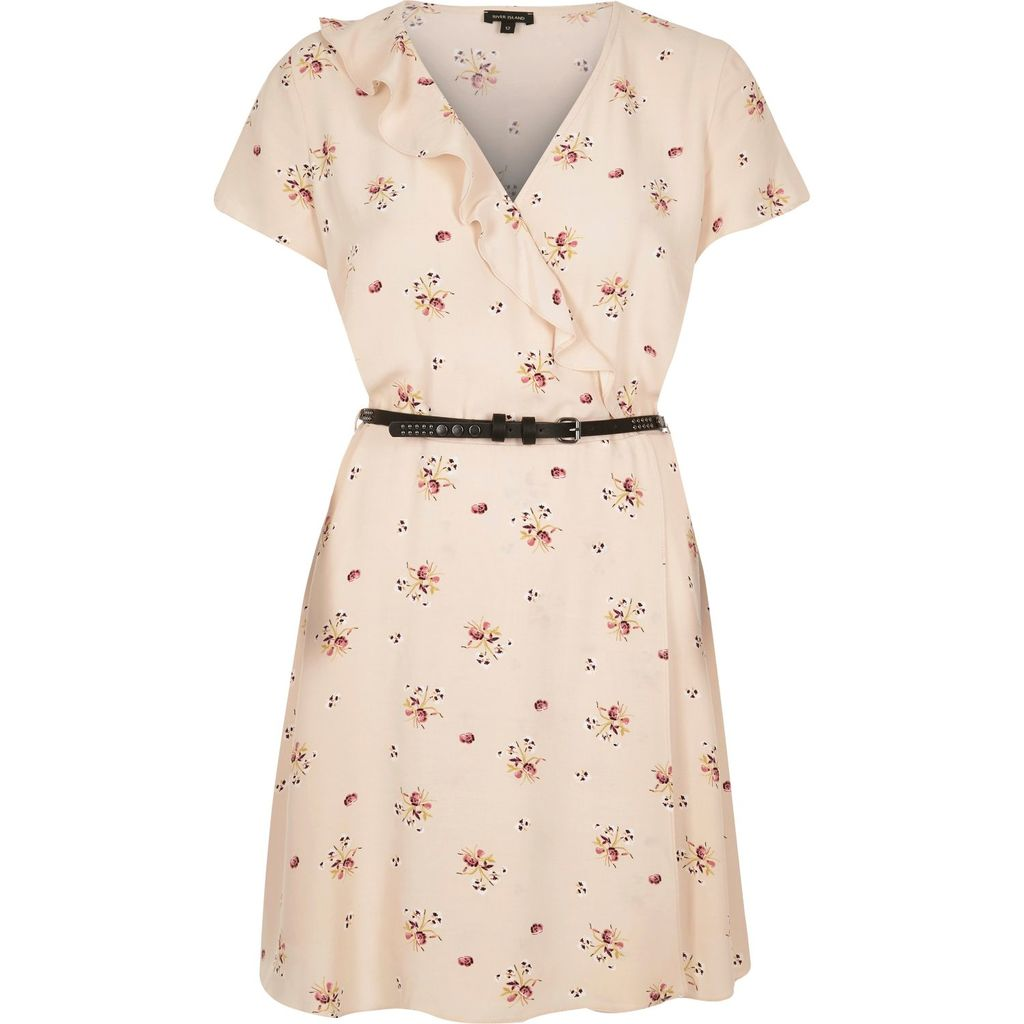 Womens Light Pink Floral Print Belted Dress - style: shift; length: mid thigh; neckline: low v-neck; fit: fitted at waist; waist detail: belted waist/tie at waist/drawstring; predominant colour: ivory/cream; occasions: casual; fibres: viscose/rayon - 100%; sleeve length: short sleeve; sleeve style: standard; pattern type: fabric; pattern: florals; texture group: other - light to midweight; season: s/s 2016; wardrobe: highlight