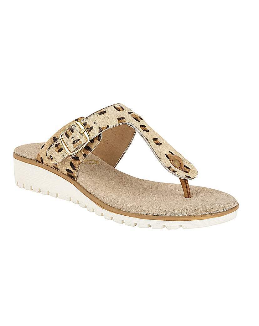Ravel Stowe Ladies Sandals - predominant colour: camel; material: fabric; heel height: mid; heel: wedge; toe: toe thongs; style: flip flops; occasions: holiday; finish: plain; pattern: animal print; shoe detail: tread; season: s/s 2016; wardrobe: highlight