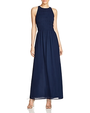 Smocked Maxi Dress - pattern: plain; sleeve style: sleeveless; style: maxi dress; length: ankle length; predominant colour: navy; occasions: casual, occasion, creative work; fit: fitted at waist & bust; fibres: polyester/polyamide - 100%; neckline: crew; sleeve length: sleeveless; texture group: sheer fabrics/chiffon/organza etc.; pattern type: fabric; season: s/s 2016; wardrobe: basic