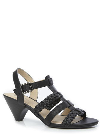 Womens Plaited Strappy Cone Heel Sandals, Black, Black - predominant colour: black; occasions: casual, holiday; material: faux leather; heel height: mid; ankle detail: ankle strap; heel: cone; toe: open toe/peeptoe; style: strappy; finish: plain; pattern: plain; season: s/s 2016