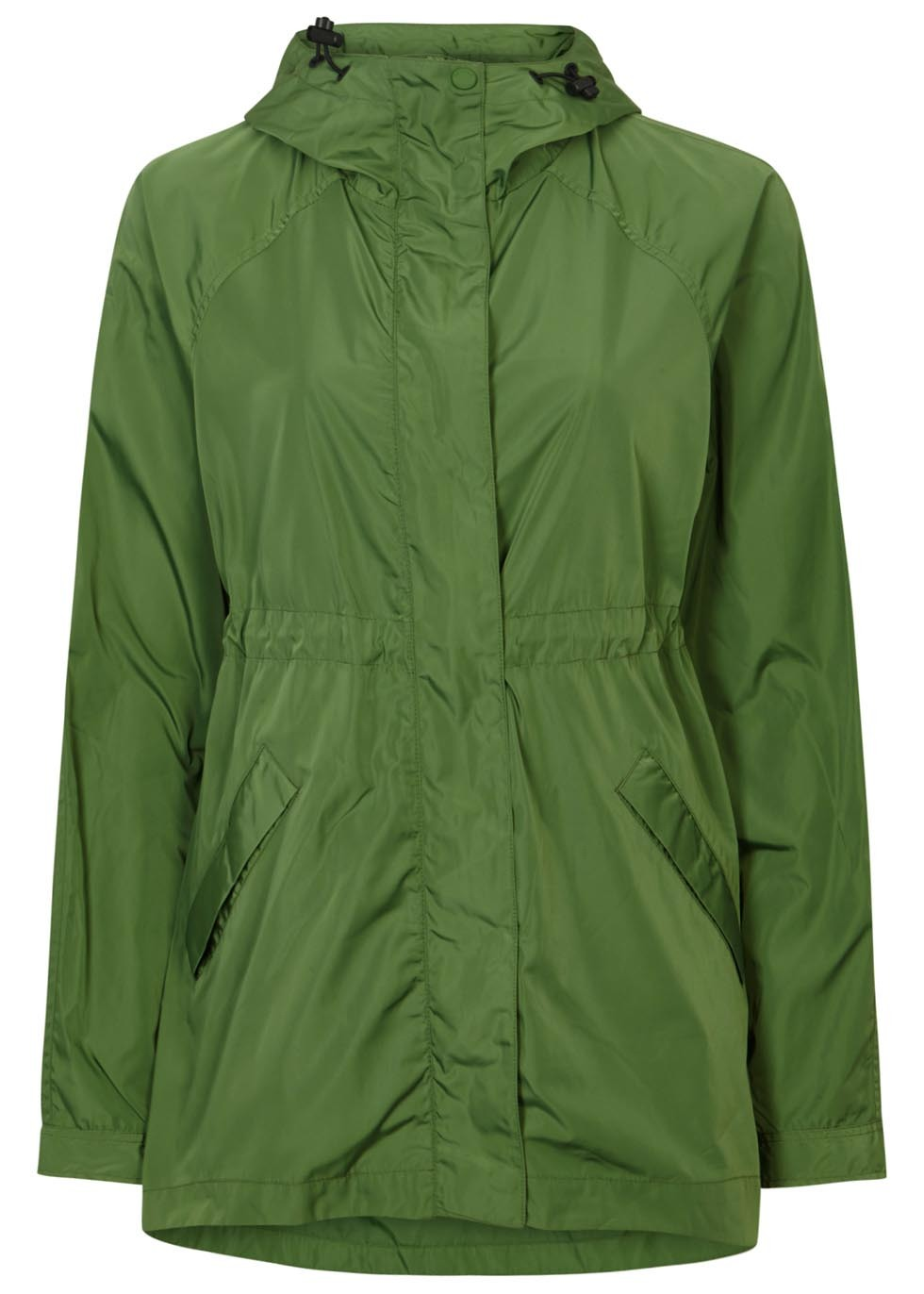 Green Lightweight Shell Jacket - pattern: plain; length: below the bottom; collar: funnel; style: mac; back detail: hood; predominant colour: emerald green; occasions: casual; fit: straight cut (boxy); fibres: polyester/polyamide - 100%; sleeve length: long sleeve; sleeve style: standard; collar break: high; pattern type: fabric; texture group: other - light to midweight; season: s/s 2016; wardrobe: highlight