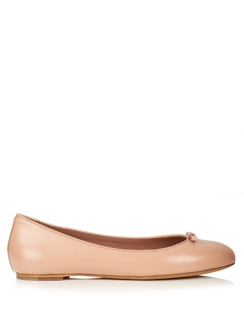 Clover Leather Ballet Flats - predominant colour: nude; occasions: casual, creative work; material: leather; heel height: flat; toe: round toe; style: ballerinas / pumps; finish: plain; pattern: plain; season: s/s 2016; wardrobe: basic