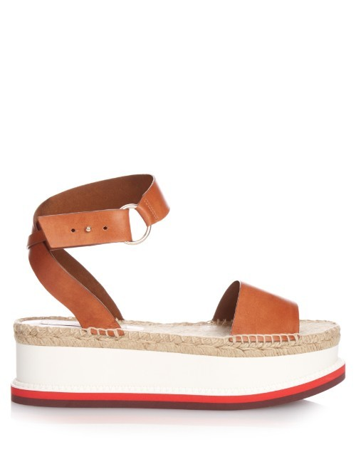 Raffia Flatform Sandals - secondary colour: true red; predominant colour: tan; occasions: casual; material: faux leather; heel height: flat; ankle detail: ankle strap; heel: wedge; toe: open toe/peeptoe; style: standard; finish: plain; pattern: colourblock; shoe detail: platform; multicoloured: multicoloured; season: s/s 2016; wardrobe: highlight
