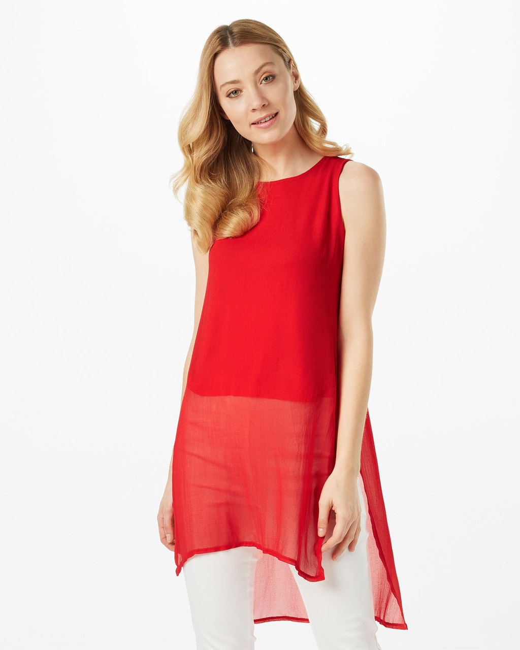 Clara Tabard Tunic - neckline: round neck; pattern: plain; sleeve style: sleeveless; length: below the bottom; style: tunic; hip detail: draws attention to hips; predominant colour: true red; occasions: casual, evening, creative work; fibres: viscose/rayon - 100%; fit: loose; sleeve length: sleeveless; texture group: sheer fabrics/chiffon/organza etc.; pattern type: fabric; season: s/s 2016; wardrobe: highlight