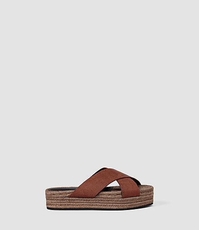 Harlem Sandal - predominant colour: chocolate brown; occasions: casual, holiday; material: leather; heel height: flat; heel: block; toe: open toe/peeptoe; style: slides; finish: plain; pattern: plain; shoe detail: platform; season: s/s 2016; wardrobe: highlight