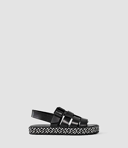 Botan Sandal - predominant colour: black; occasions: casual, holiday; material: leather; heel height: flat; heel: wedge; toe: open toe/peeptoe; style: strappy; finish: plain; pattern: plain; season: s/s 2016