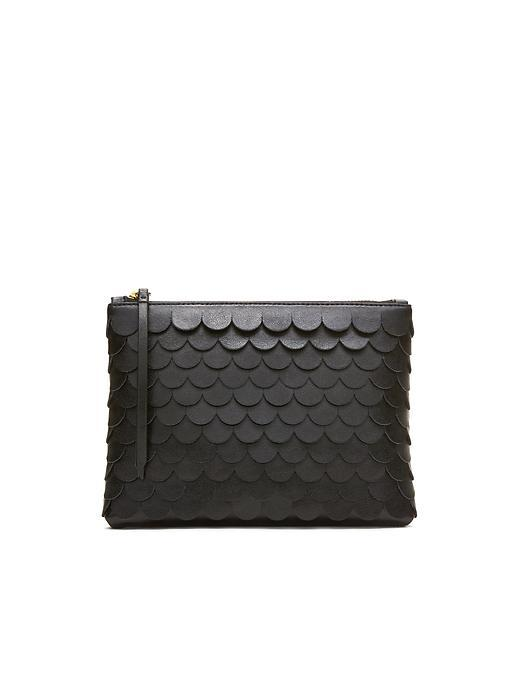 Scalloped Small Zip Pouch Black - predominant colour: black; occasions: evening, occasion; type of pattern: standard; style: clutch; length: hand carry; size: small; material: faux leather; pattern: plain; finish: plain; season: s/s 2016; wardrobe: event