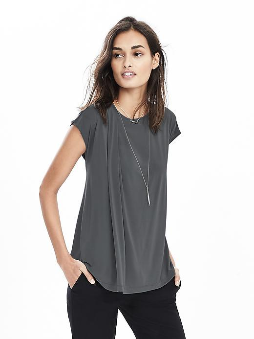 Drape Shoulder Top Vintage Gray - pattern: plain; style: t-shirt; predominant colour: charcoal; occasions: casual; length: standard; fit: body skimming; neckline: crew; sleeve length: short sleeve; sleeve style: standard; pattern type: fabric; texture group: jersey - stretchy/drapey; fibres: viscose/rayon - mix; season: s/s 2016
